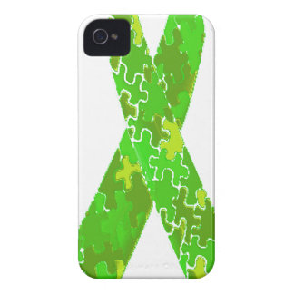 Bright Lime Green Jigsaw Puzzle Pattern Ribbon iPhone 4 Cases