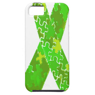 Bright Lime Green Jigsaw Puzzle Pattern Ribbon iPhone 5 Case