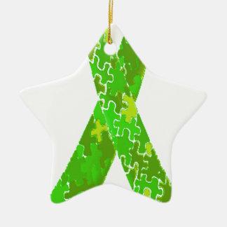 Bright Lime Green Jigsaw Puzzle Pattern Ribbon Ceramic Ornament