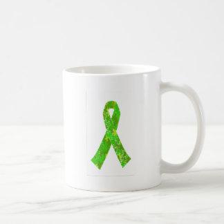 Bright Lime Green Jigsaw Puzzle Pattern Ribbon Coffee Mug