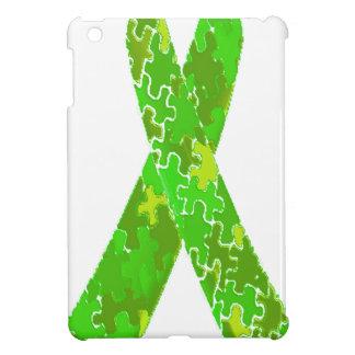 Bright Lime Green Jigsaw Puzzle Pattern Ribbon iPad Mini Cover