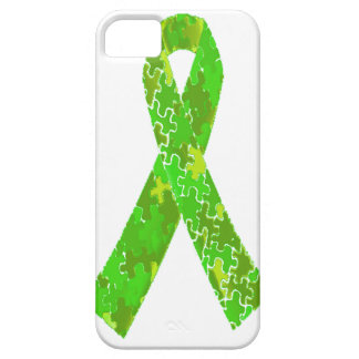 Bright Lime Green Jigsaw Puzzle Pattern Ribbon iPhone SE/5/5s Case