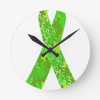 Bright Lime Green Jigsaw Puzzle Pattern Ribbon Round Clock