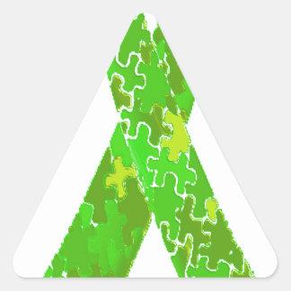 Bright Lime Green Jigsaw Puzzle Pattern Ribbon Triangle Sticker