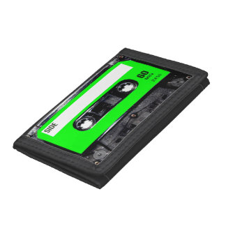 Bright Lime Green Label Cassette Trifold Wallet