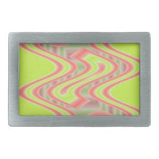 Bright lime green peachy orange pop art rectangular belt buckle