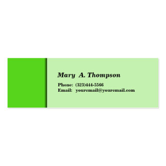 Bright Lime Green side border Business Card Templates