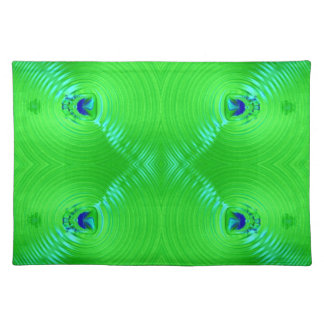 bright lime green turquoise fractal design place mat