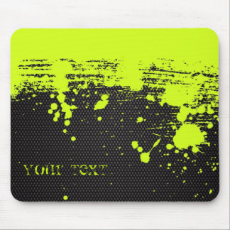 Bright lime grunge on black mouse pad