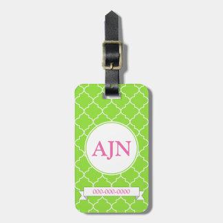Bright Lime Monogram Luggage Tag