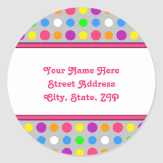 Bright Little Dots Address Labels Classic Round Sticker