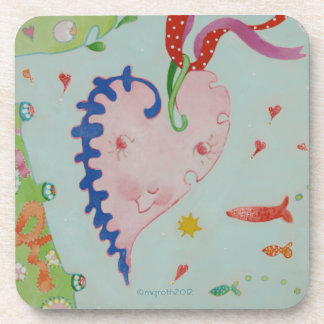 Bright little happy heart drink coaster