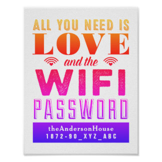 Bright Love and the Wi-Fi Password Guest Room Art Poster