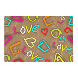 Bright Love Scribbled Design Placemat