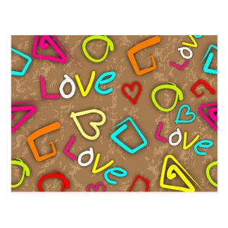 Bright Love Scribbled Design Postcard