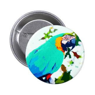 Bright Macaw Parrot Portrait Button