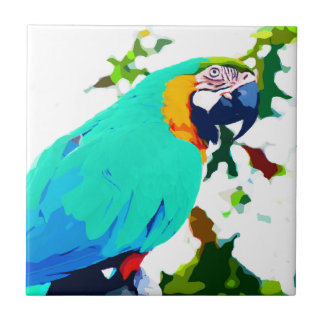 Bright Macaw Parrot Portrait Ceramic Tile