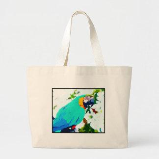 Bright Macaw Parrot Portrait Large Tote Bag