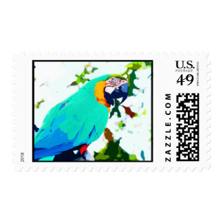 Bright Macaw Parrot Portrait Postage Stamp
