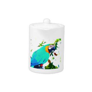 Bright Macaw Parrot Portrait Teapot