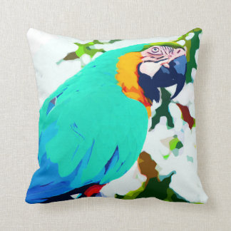 Bright Macaw Parrot Portrait Throw Pillow