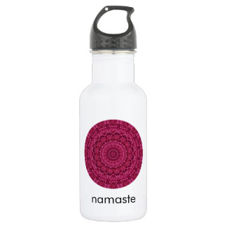 Bright Magenta Floral Mandala Art Namaste Water Bottle