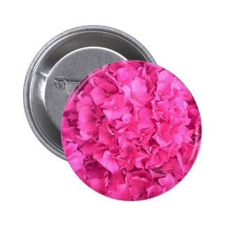 Bright Magenta Hydrangea Flower Pinback Button