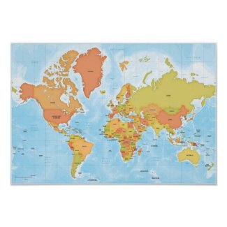 Bright map of the world poster