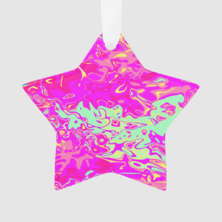 Bright Marbleized Colors Design on Star Ornament