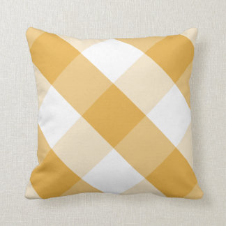 Bright Marigold & white reversible gingham plaid Pillows