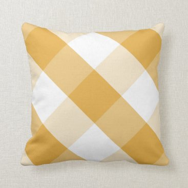 Beach Themed Bright Marigold & white reversible gingham plaid Throw Pillow