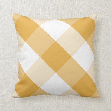 Beach Themed Bright Marigold & white reversible gingham plaid Throw Pillow