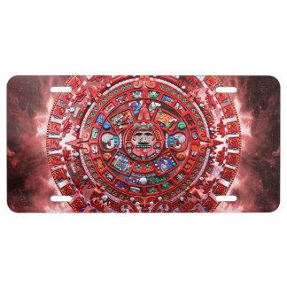 Bright Mayan Calender License Plate