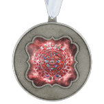 Bright Mayan Calender Scalloped Pewter Ornament