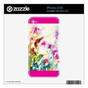 """""""Bright Meadow"""" Hummingbird Print Decal For iPhone 4S"""