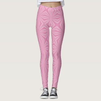 Bright Medium Pink Squiggly squares Leggings