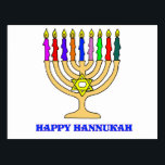 "Bright Menorah Postcard<br><div class=""desc"">A bright Hannukah menorah with the words Happy Hannukah welcomes the holiday.   Happy latke eating!</div>"
