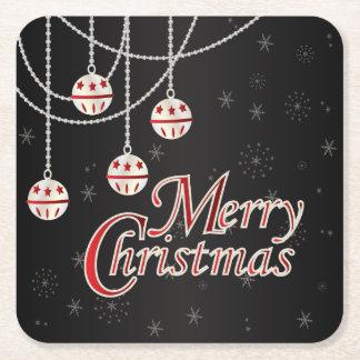 Bright Merry Christmas | Black Square Paper Coaster