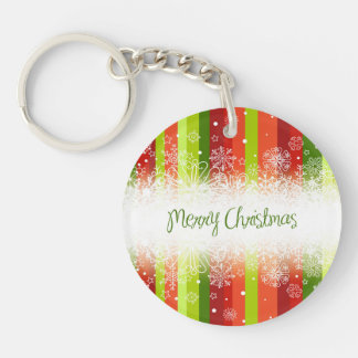Bright Merry Christmas Holiday Design Keychain