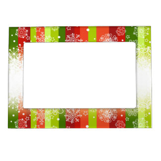 Bright Merry Christmas Holiday Design Magnetic Picture Frame