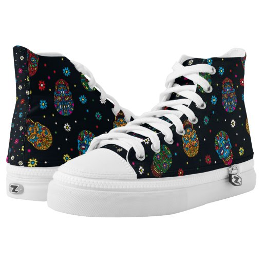 Bright mexican floral skull printed shoes
