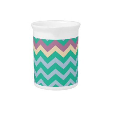 Beach Themed Bright Mix Of Chevron Colors Beverage Pitcher
