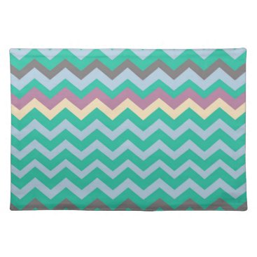 Beach Themed Bright Mix Of Chevron Colors Cloth Placemat