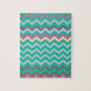 Beach Themed Bright Mix Of Chevron Colors Jigsaw Puzzle