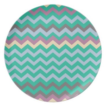 Beach Themed Bright Mix Of Chevron Colors Melamine Plate