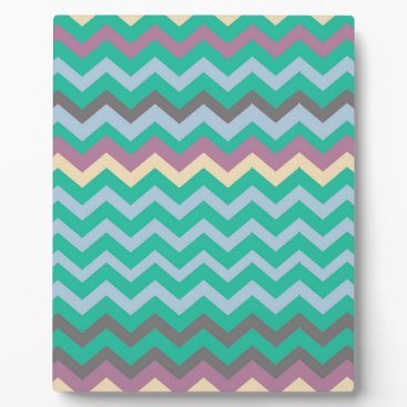 Beach Themed Bright Mix Of Chevron Colors Plaque