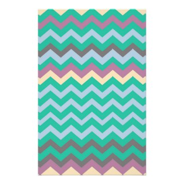 Beach Themed Bright Mix Of Chevron Colors Stationery