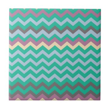 Beach Themed Bright Mix Of Chevron Colors Tile