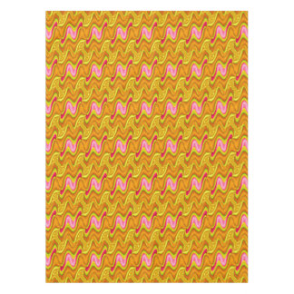Bright Mod Pink Yellow Gold Wavy Shapes Design Tablecloth