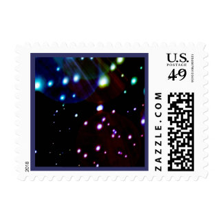 Bright Modern Abstract Outer Space Meteors Postage Stamp